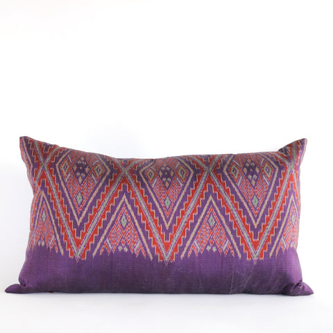 Thai Silk Ikat Pillow - Purple - The Loaded Trunk