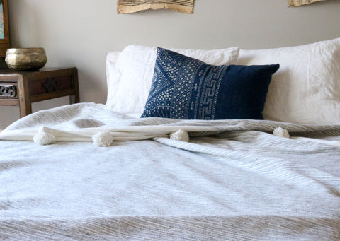 Pom Pom Blanket - Gray Ombre - The Loaded Trunk