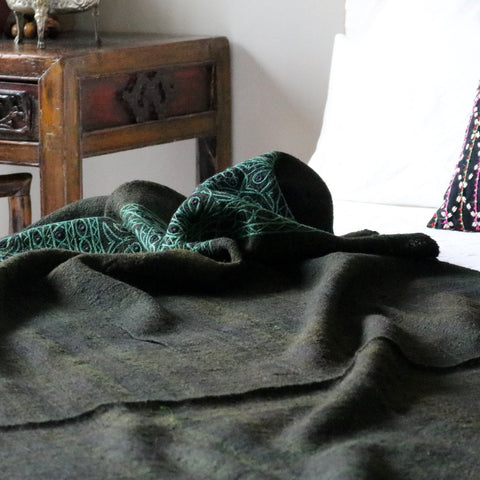Kutch Embroidered Throw - Green - The Loaded Trunk