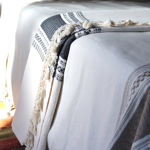 Mexican Cotton Blanket - Stone - The Loaded Trunk