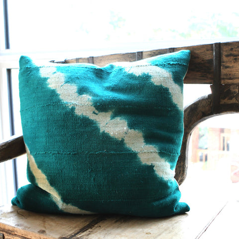 Teal Mud Cloth Pillow - I - The Loaded Trunk
