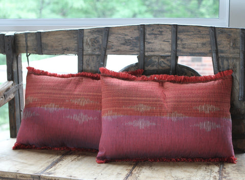 Silk Ikat Pillow - Coral - The Loaded Trunk