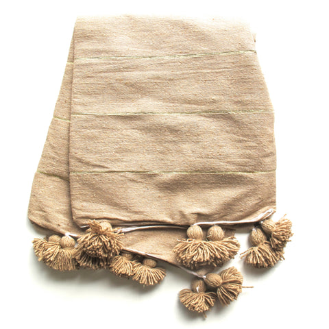 Pom Pom Blanket -  Tan/Gold - The Loaded Trunk
