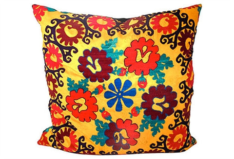 Vivid Florals Suzani Pillow No. 4 - The Loaded Trunk