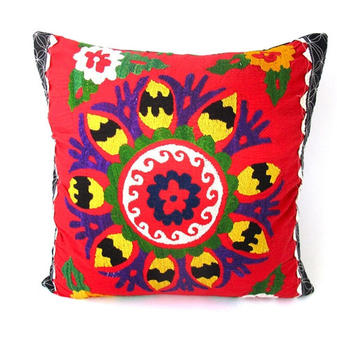 Vivid Florals Suzani Pillow No. 9 - The Loaded Trunk