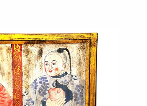 Painted Chinese Wooden Panel - The Loaded Trunk