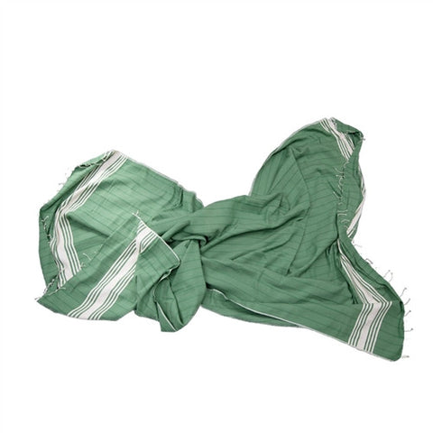 Striped Turkish Towel/Throw - Green - The Loaded Trunk