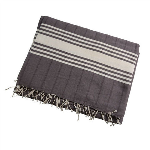 Striped Turkish Towel/Throw -  Gray - The Loaded Trunk