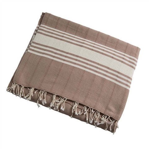 Striped Turkish Towel/Throw - Khaki - The Loaded Trunk