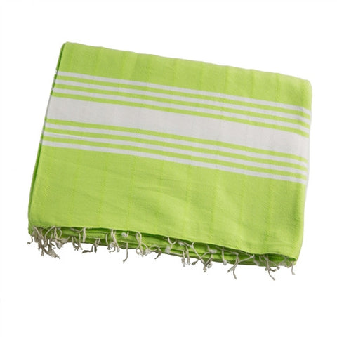 Striped Turkish Towel/Throw - Lime - The Loaded Trunk