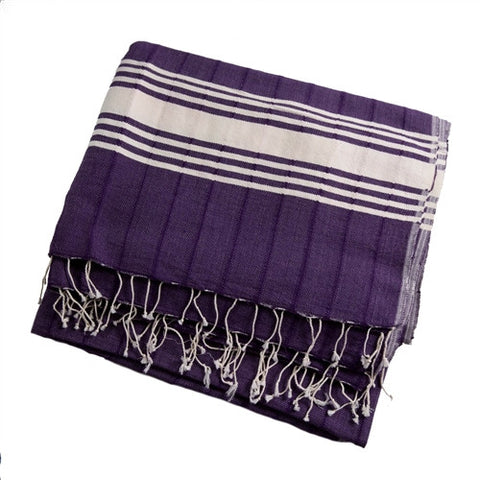 Striped Turkish Towel/Throw - Purple - The Loaded Trunk