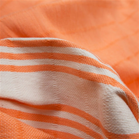 Striped Turkish Towel/Throw - Orange - The Loaded Trunk