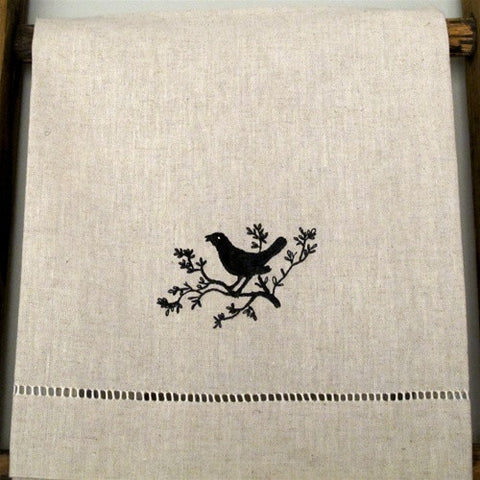 Embroidered Linen Hand Towel No. 3 - The Loaded Trunk