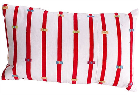 Chiapas Red Striped Lumbar Pillow - The Loaded Trunk