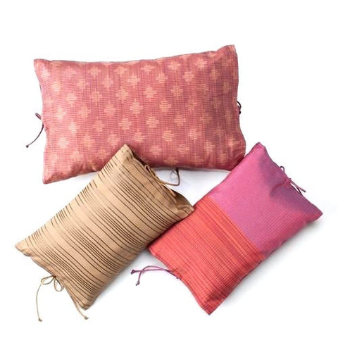 Thai Silk Ribbon Tie Pillow No. 1 - The Loaded Trunk