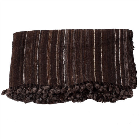 Kutch Artisan Wool Throw - Brown - The Loaded Trunk
