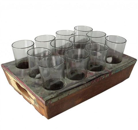 "Recycled Metal ""Drink Service Tray"" & Glases - The Loaded Trunk"