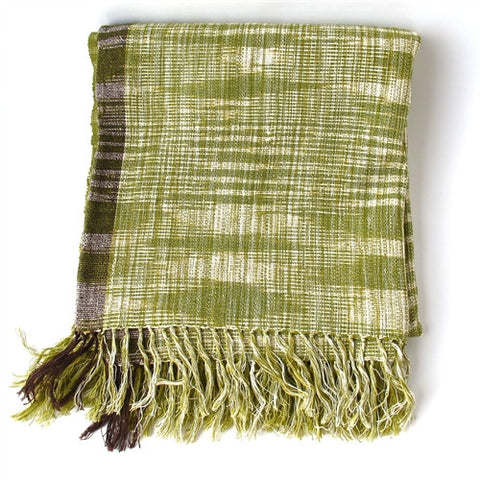 Linen / Cotton Ikat Throw - Green - The Loaded Trunk