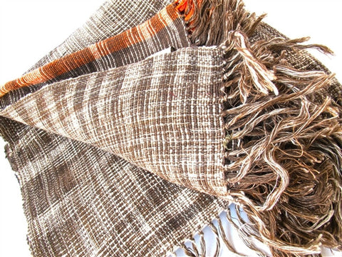 Linen / Cotton Ikat Throw - Brown - The Loaded Trunk