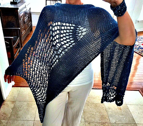 Feeling Blue Shawl, knit kit