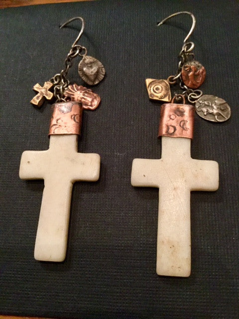 Bone Cross Earrings Copper Charms