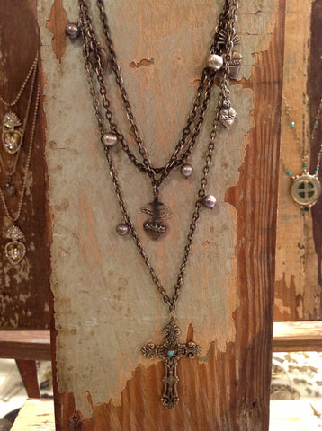 Sacred Heart Necklace w/ Cross
