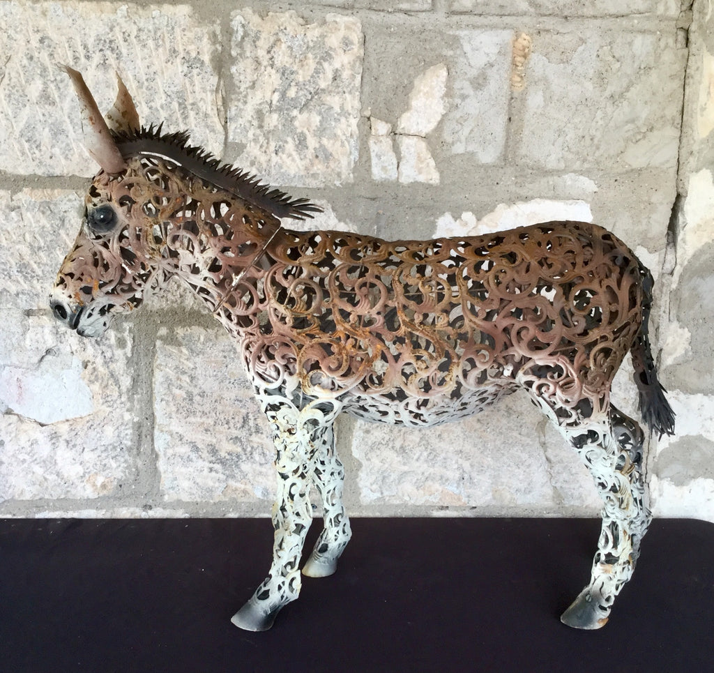 mini donkey metal filagree house decoration patio porch