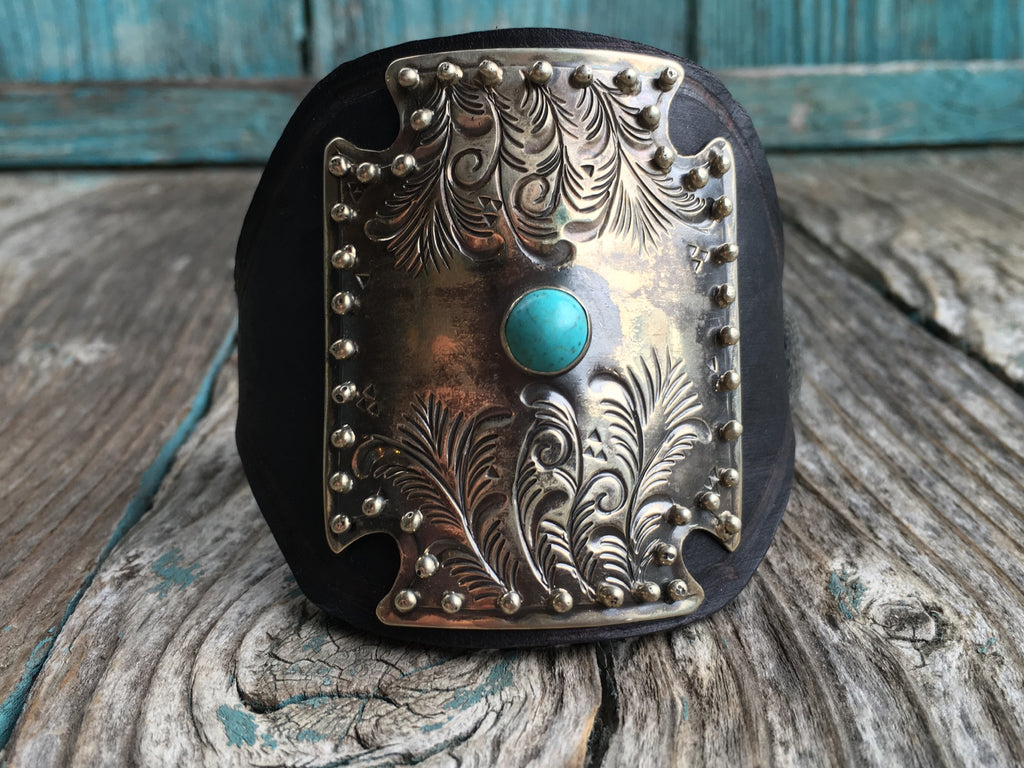 Engraved Turquoise Studs Leather Cuff