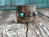 Engraved 3 Turquoise Cuff