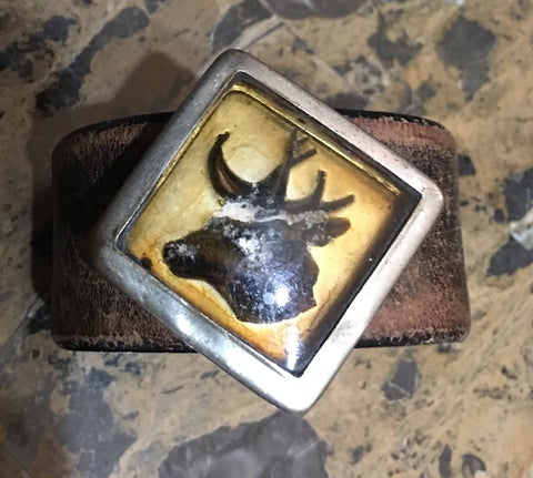 Antique 1880s Rosette Stag Cuff