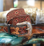 Twisted X Earth Tone Tooled Woven Belt