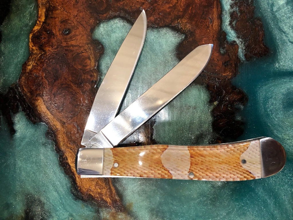 "4"" Copperhead Snake Design Handle SS Double Blade Knife"