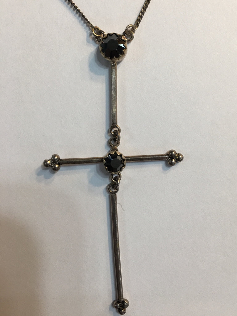 Garland Cross Necklace-bs-hematite-hematite