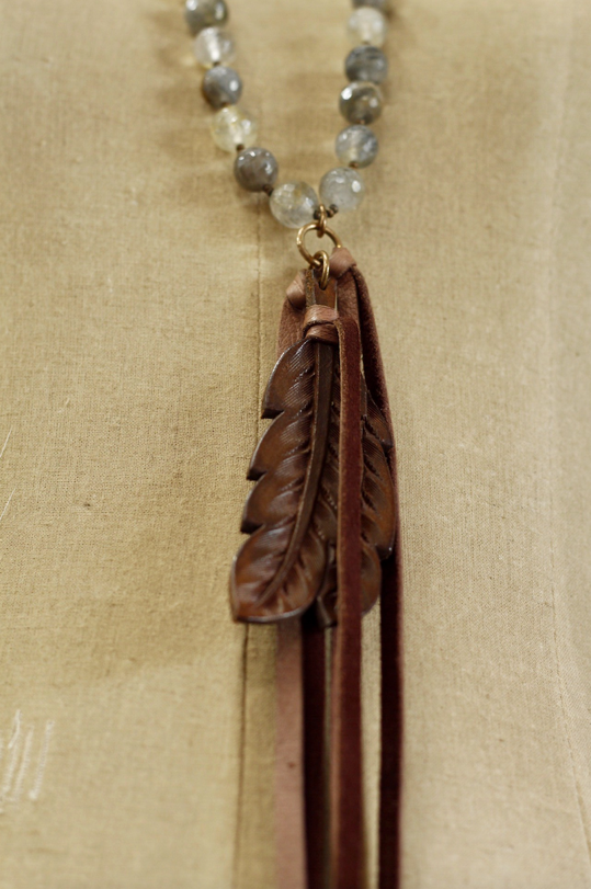 Grey Quartz w/ Chocolate Double Feather Necklace