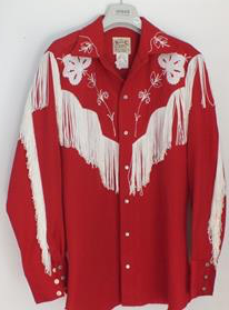 Vintage Red Shirt Heavy Fringe 15-1/2