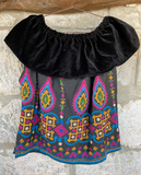 Tribal Bajera Gypsy Velvet Off Shoulder Top OOAK