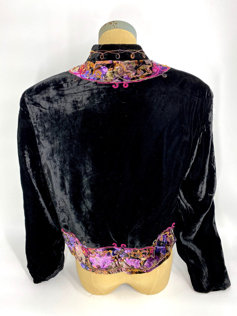 Vintage Ropa Velvet Jacket Black Purples