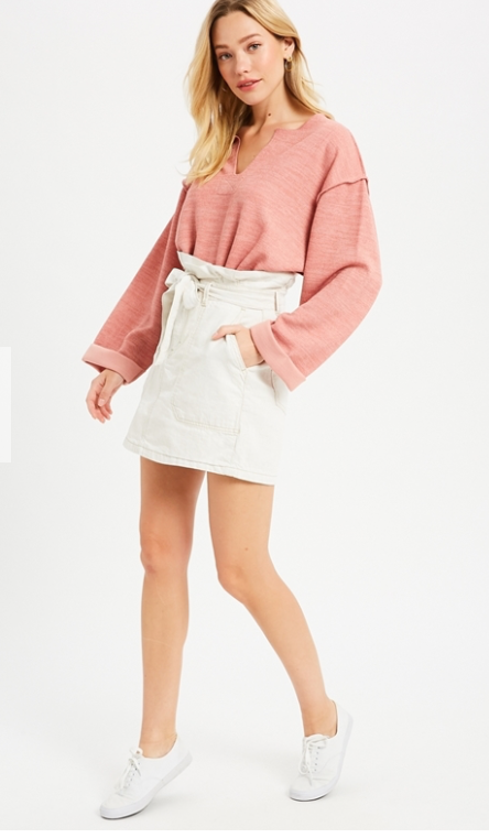 High Waisted Cotton Mini SKirt