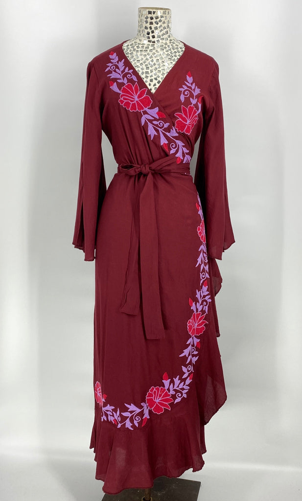 Bloom From the Inside Out Wrap Dress-Wine