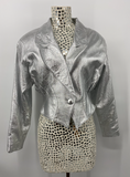 Lillie Rubin Leather Metallic Silver Jacket