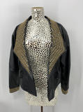 LA Roxx Black Leather Jacket with Gold Studs - Large