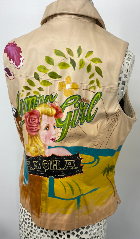 Via Blue Via Vintage Hand Painted Vest - Medium