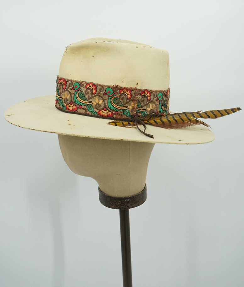 Vintage Distressed Hat Floral Bird Band 6-7/8