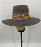 Periwinkle Vintage Distressed hat w/ Floral Hat Band - 6-7/8
