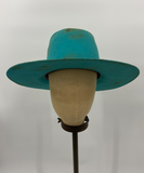 Turquoise Vintage Distressed Hat w/ Concho - 6-7/8