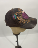 Kippys Leather Cap - Brown w/ Pink Heart