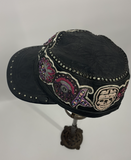 Black Leather Kippy's Skull Cap