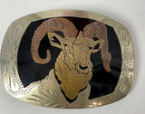 Ram Head Engraved Belt Buckle