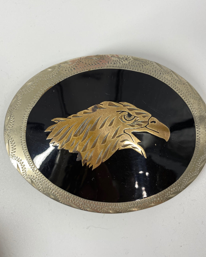 Gold Eagle Head on Black Belt Buckle