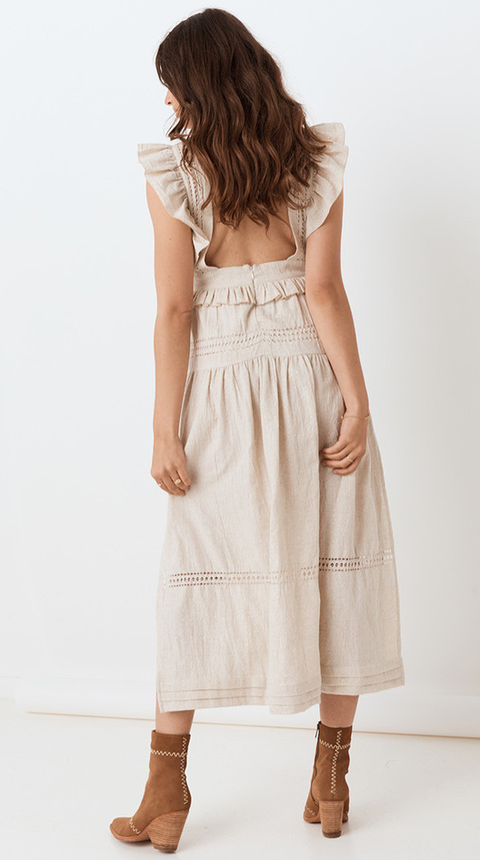 Lola Frill Maxi Dress - Biscuit